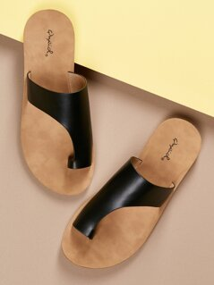 Asymmetric Band Toe Ring Slide On Footbed Sandals