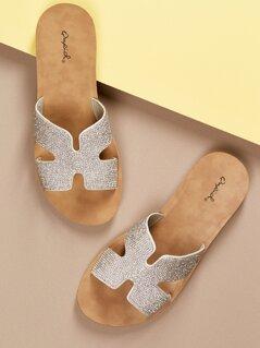 H Cut Out Rhinestone Band Slide Flat Sandals