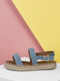 Double Denim Band Jute Wrapped Platform Sandals