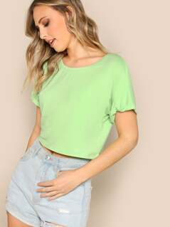 Neon Green Rolled Up Sleeve Solid Crop T-shirt