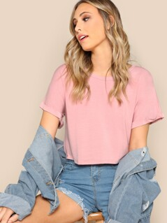 Rolled Up Sleeve Solid Crop T-shirt