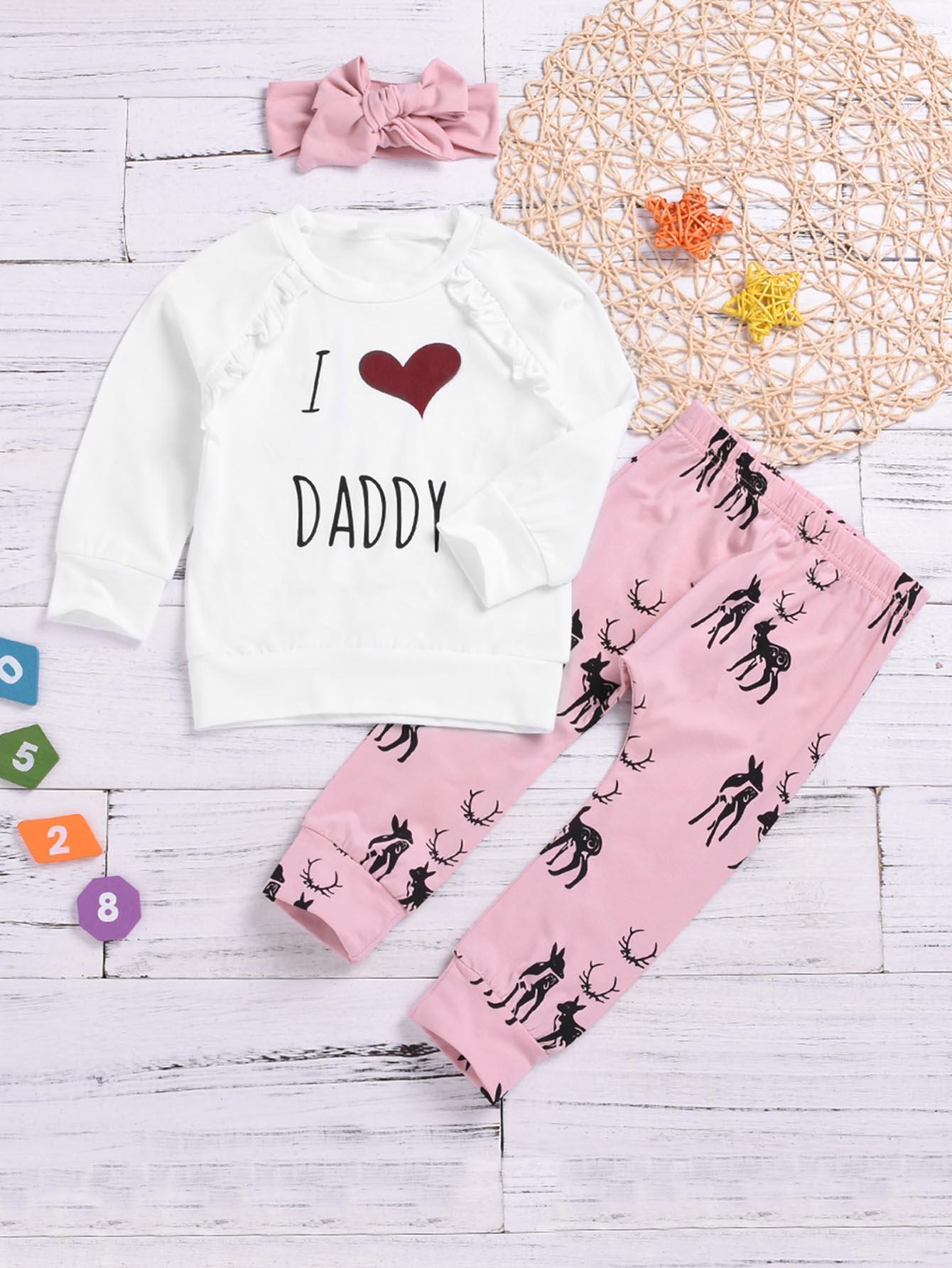 Купить Свитшот с текстовым принтом и брюки с принтом оленя и повязка на голову для маленьких девочек, null, SheIn