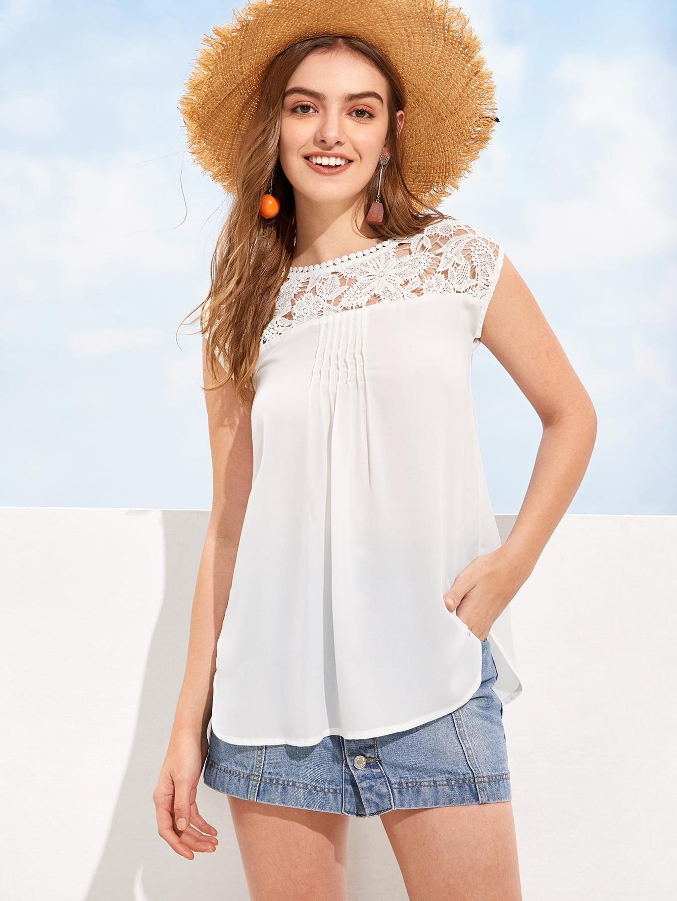 Купить Блуза с кружевами и изогнутым краем без рукава, Luiza, SheIn