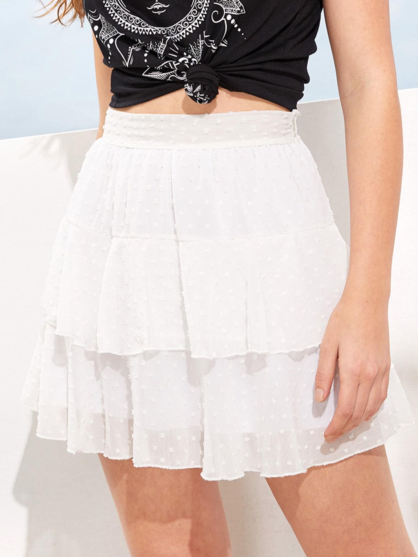 Купить Жаккардовая юбка из шифона в горошек с оборкой, Luiza, SheIn