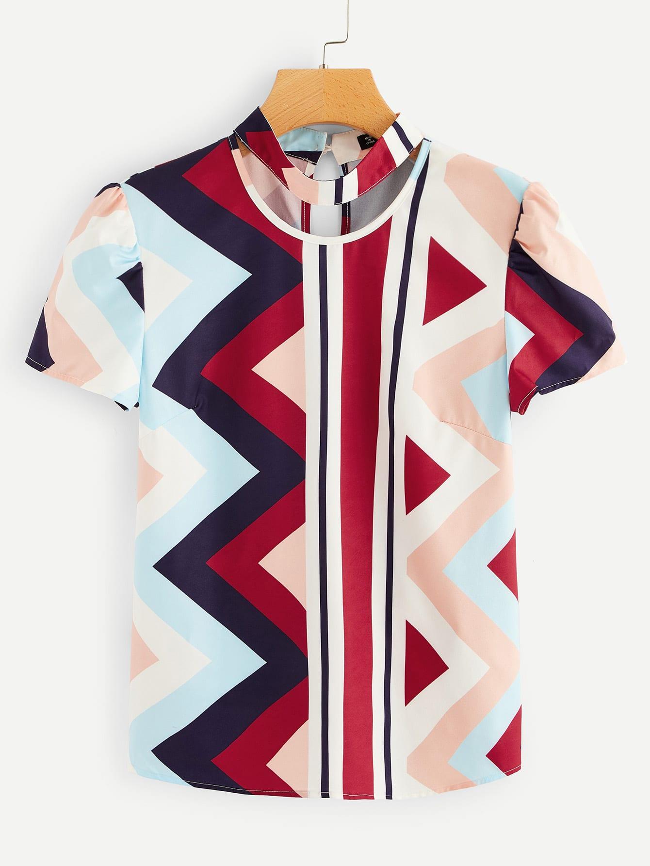 Купить Блуза с воротником чокер и графическим принтом, null, SheIn