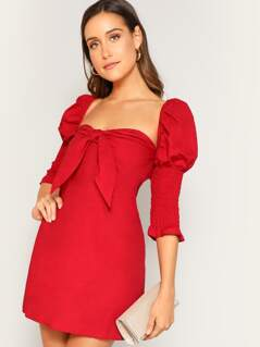 Knot Front Shirred Sleeve Dress