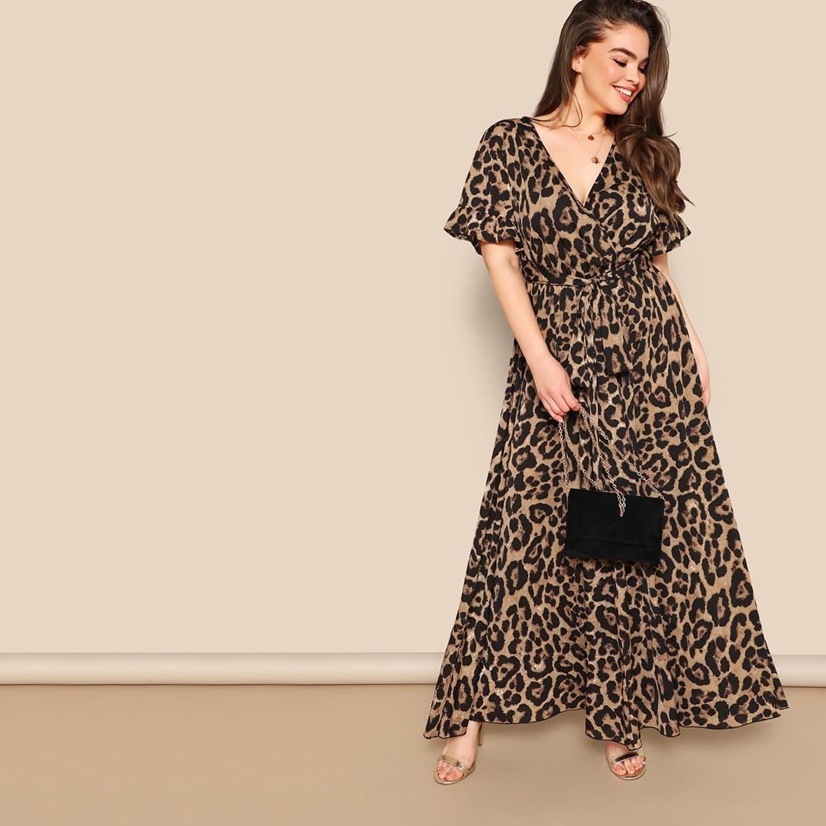 Veel kleurig Elegant Luipaard Grote maten jurken Rimpeling