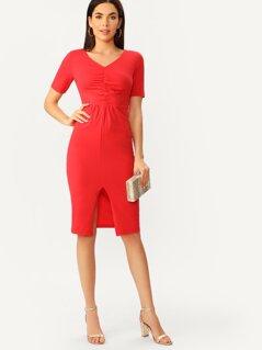 Ruched Front Split Hem Pencil Dress