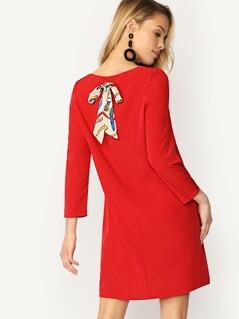Chain Print Bow Back Tunic Dress