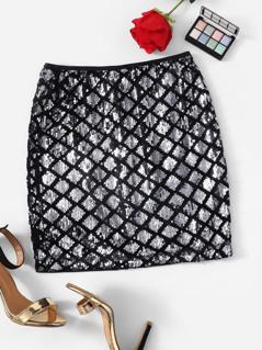 Zip Back Argyle Sequin Skirt