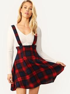 High Waist Buttoned Tartan Skirt With Thick Strap