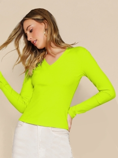 Neon Yellow Rib-knit Fitted Tee