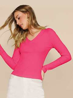 Neon Pink V-neck Rib-knit Slim Tee