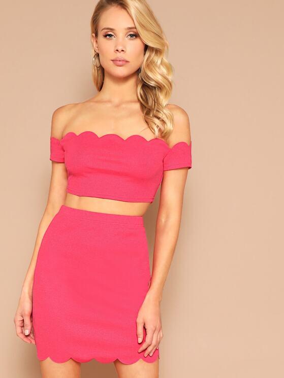 7bc2e5a0aa Scallop Trim Off Shoulder Crop Top & Skirt Set   MakeMeChic.COM