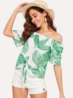 Knot Front Tropical Print Bardot Top