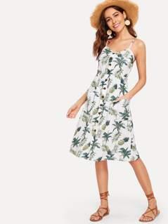 Single Breasted Pocket Tropical Print Dress