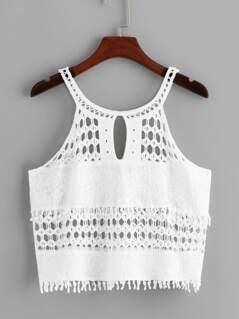 Circle Crochet Insert Halter Top