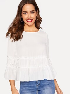 Frill Trim Bell Sleeve Solid Top