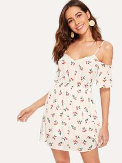 Cold Shoulder Cherry Print Slip Dress
