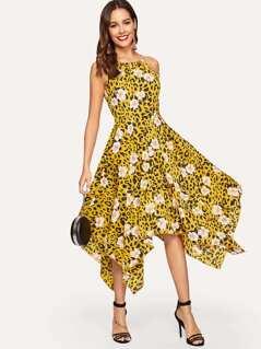 Leopard & Floral Hanky Hem Flare Cami Dress
