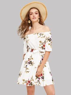 Off Shoulder Floral Print Belted Dress