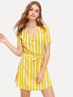 Surplice Wrap Belted Striped Dress