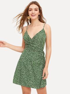 Surplice Neck Wrap Knotted Slip Dress