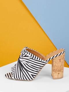 Twist Detail Striped Fabric Chunky Cork Heel Mules