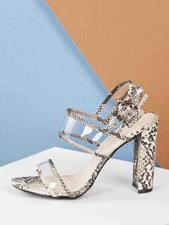 Snake Trim Clear PVC Straps Chunky Heel Sandals