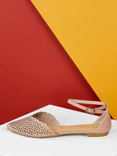 Scalloped Cut Out Pointed Toe Ankle Strap Flats