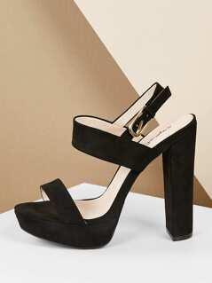 Two Band Slingback Platform Block Heel Sandals