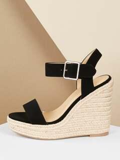 Open Toe Ankle Strap Jute Trimmed Platform Wedges
