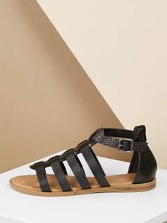 Back Zip Basket Detail Strappy Gladiator Sandals