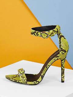 Pointy Sole Twin Buckles Snake Stiletto High Heels