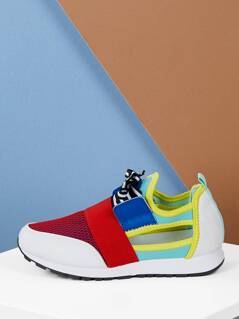 Open Side Lace Front Multi Color Trainer Sneakers
