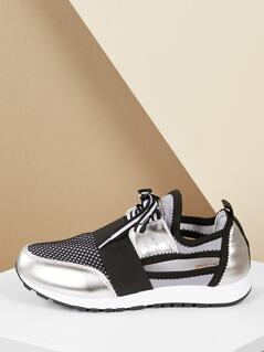 Side Peekaboo Lace Up Metallic Running Sneakers