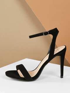 Open Toe Buckle Ankle Strap Stiletto Heel Sandals