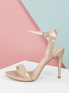 Almond Open Toe Ankle Strap Thin Stiletto Heels