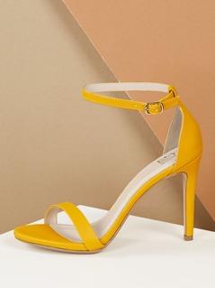 Open Almond Toe Ankle Strap Mid Stiletto Heels