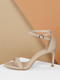 Open Toe Buckle Ankle Strap Low Heel Sandals