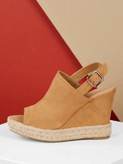 Peep Toe Heel Strap Jute Detail Platform Wedges
