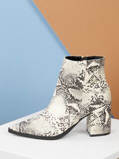 Side Zip Pointy Toe Block Heel Snake Print Booties