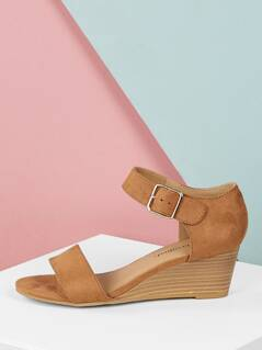d03f9deeb89 Single Band Buckled Ankle Strap Low Wedge Sandals