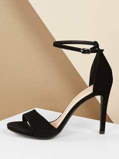 Buckle Ankle Strap Open Toe Stiletto Heels