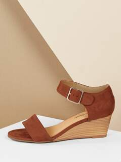 Thick Band Open Almond Toe Buckle Strap Wedges
