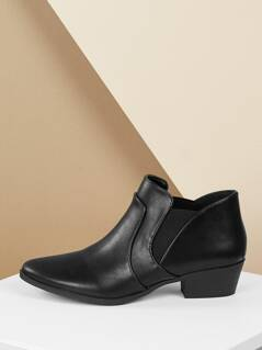 Elastic Goring Almond Toe Chunky Heel Ankle Boots