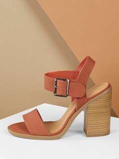 Open Toe Thick Buckle Strap Chunky Heel Sandals