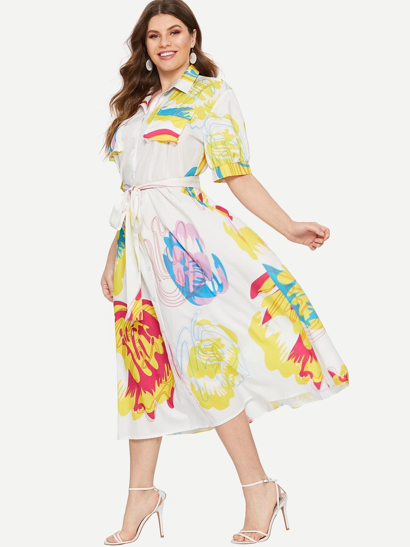Размера плюс платье-рубашка с поясом и карманом