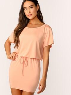 Knot Waist Solid Blouson Dress