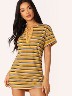 Lace-up Neck Rolled Up Cuff Striped Dress